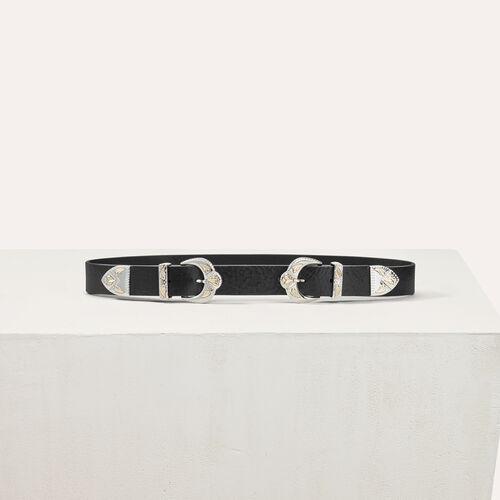 Double scalloped buckle leather belt : Belts color Black 210