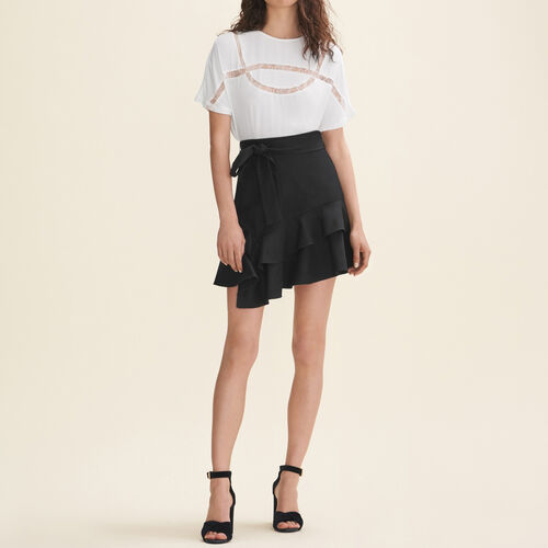 Floaty T-shirt with lace : T-Shirts color WHITE