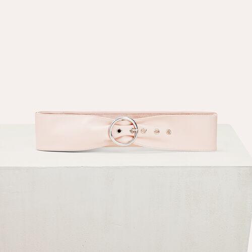 Wide leather belt : Belts color Pale Pink