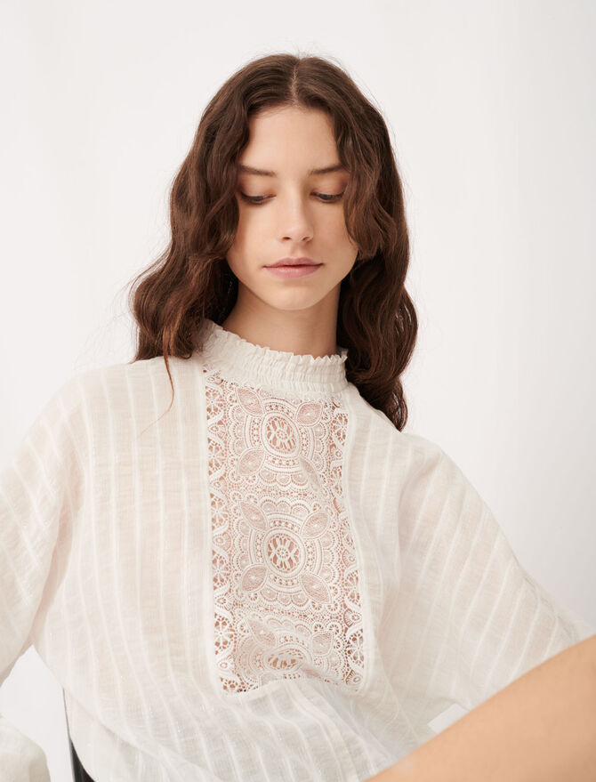 Cotton, lurex and lace top -  - MAJE