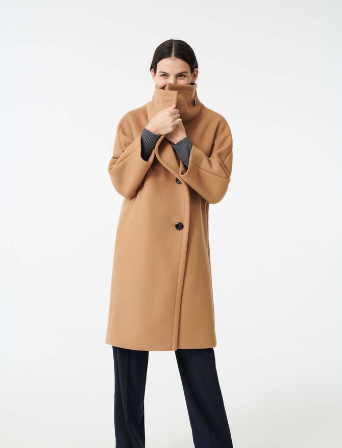 Long coat with wide woolen collar - Coats & Jackets - MAJE