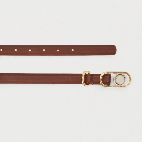 Waistbelt in leather with buckle : Office girl color Black 210