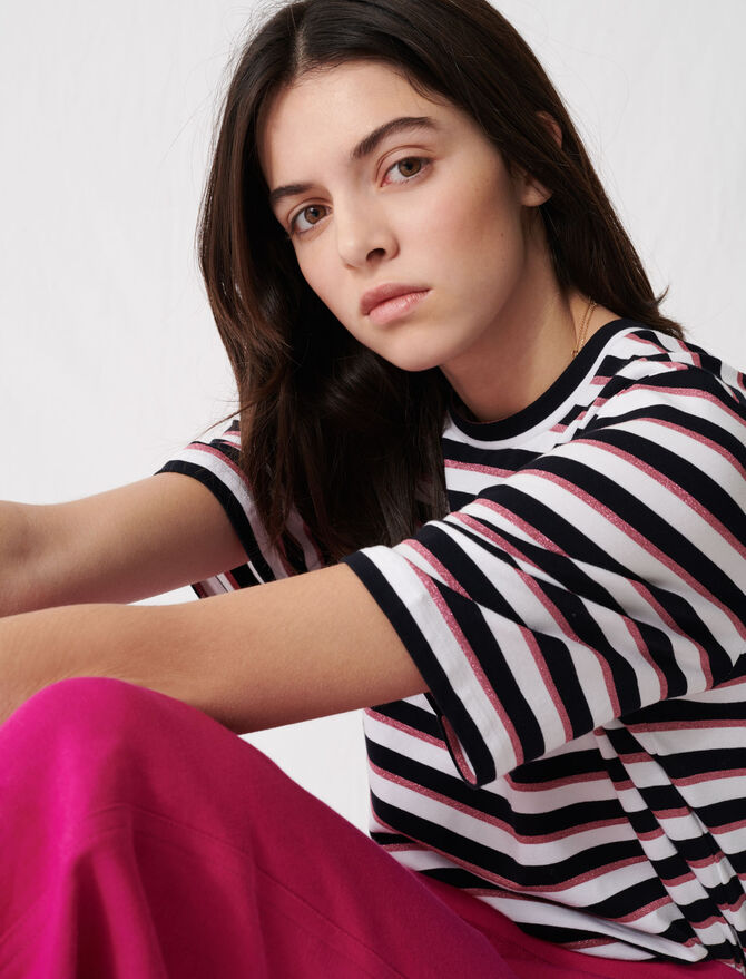 T-shirt with tricoloured stripes - T-Shirts - MAJE