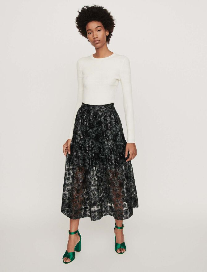 Sequin-embroidered tulle skirt - Best Sellers - MAJE