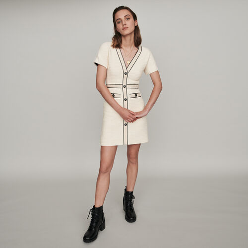 Tweed-style contrast dress : Winter collection color Ecru