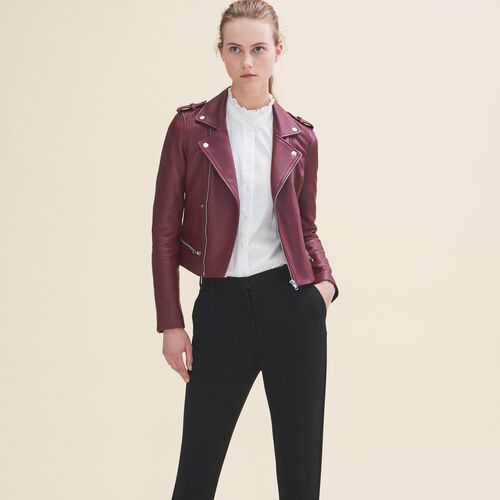 Leather jacket : Jackets color Burgundy