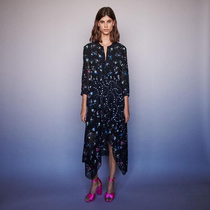 Mixed print scarf dress - staff private sale 20 - MAJE