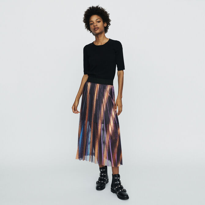 Pleated and iridescent long skirt - staff private sale 20 - MAJE