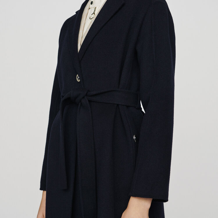 Double-face wool coat with belt : Coats & Jackets color Navy
