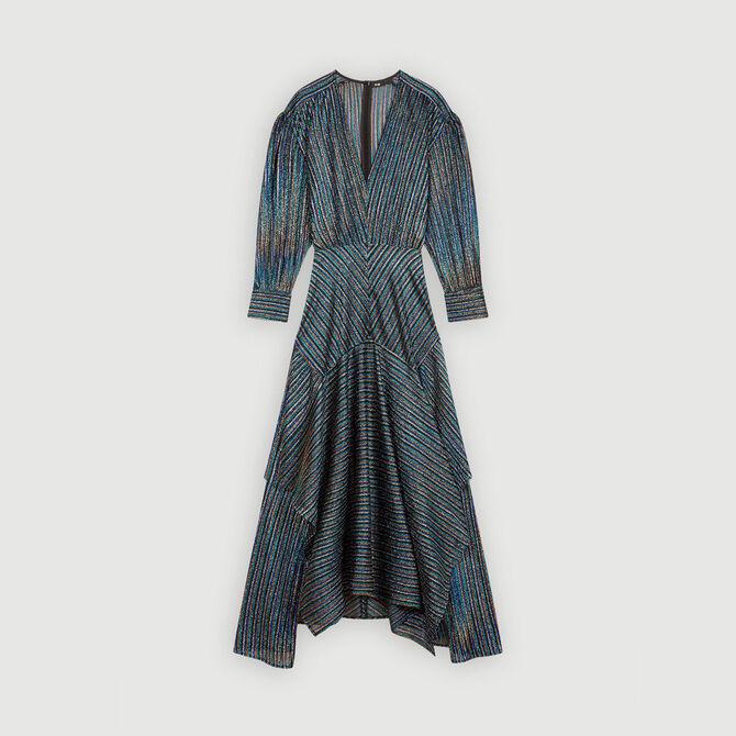 Striped Lurex scarf dress - staff private sale 20 - MAJE