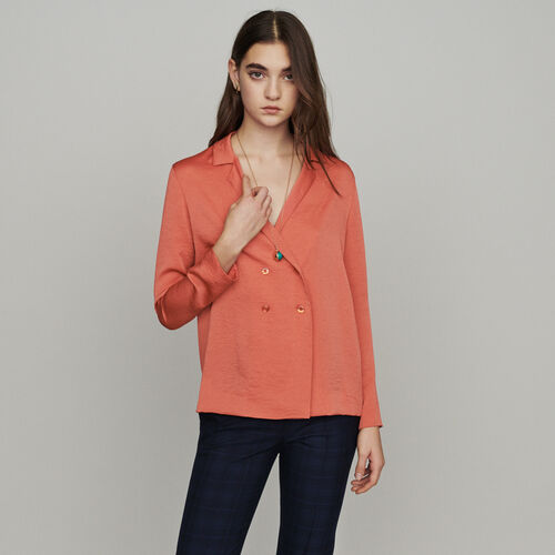 Blazer-style blouse : Tops & Shirts color Coral