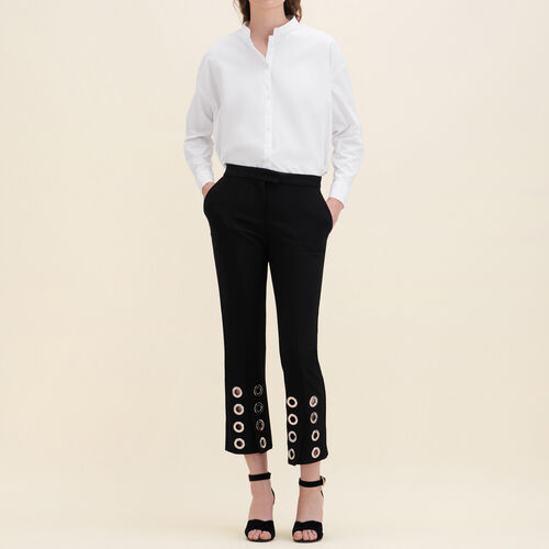 Straight-cut crêpe trousers with eyelets : Trousers & Jeans color Black 210