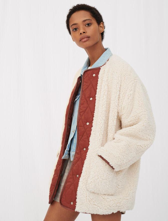 Contrast shearling-effect coat - Coats & Jackets - MAJE