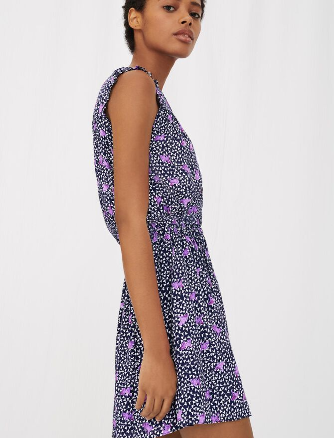 Printed crêpe dress with smocking - Dresses - MAJE