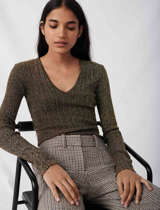 Low-cut lurex knit sweater - New collection - MAJE