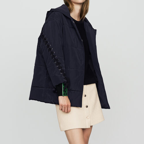 Cropped down jacket with lacing : Coats color Navy
