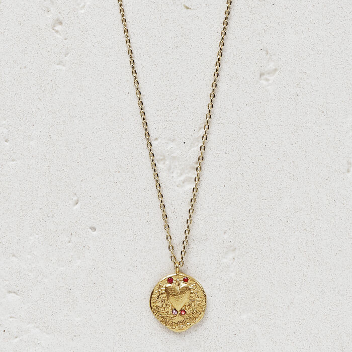 """Necklace with medallion """"Mon coeur"""" : Jewelry color GOLD"""