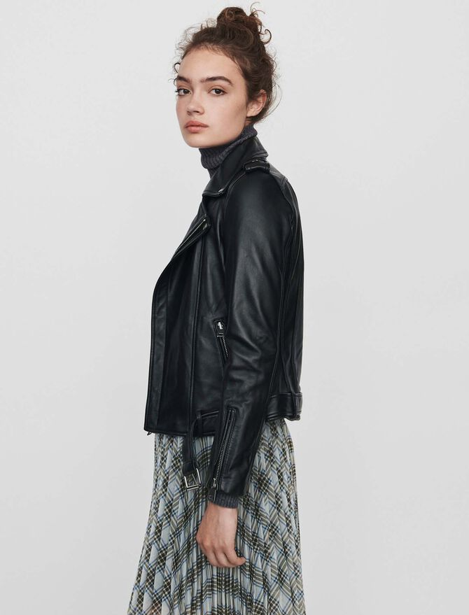 Leather biker jacket and belt - Jackets - MAJE