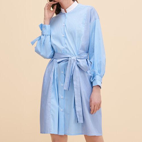 Striped shirt dress : Dresses color Blue