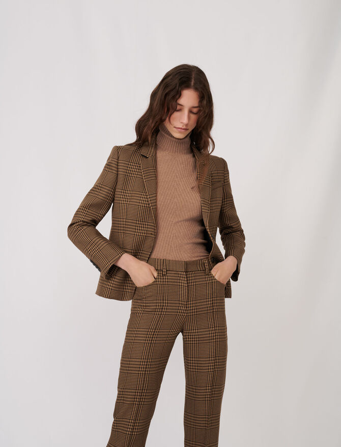 Checked fitted suit jacket -  - MAJE