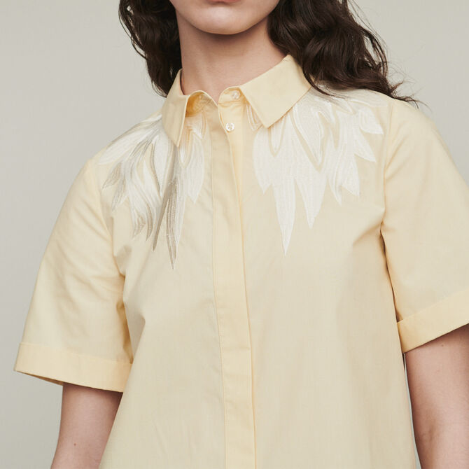Short-sleeve embroidered shirt -  - MAJE