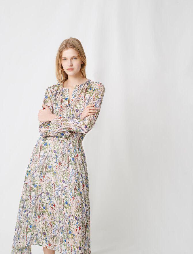 Robe longue asymétrique à imprimé fleuri - Pap_Robes - MAJE