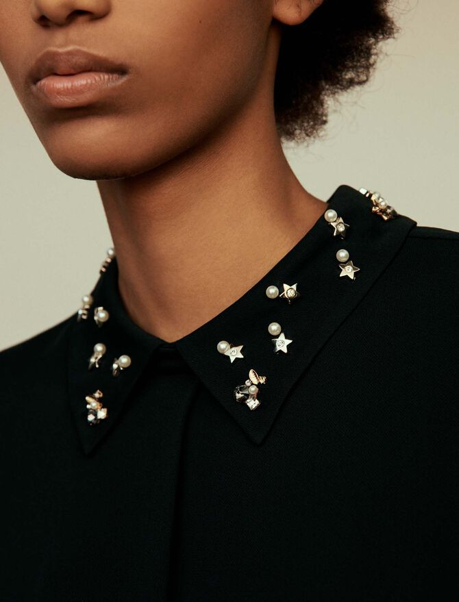 T-shirt top with embroidered collar -  - MAJE