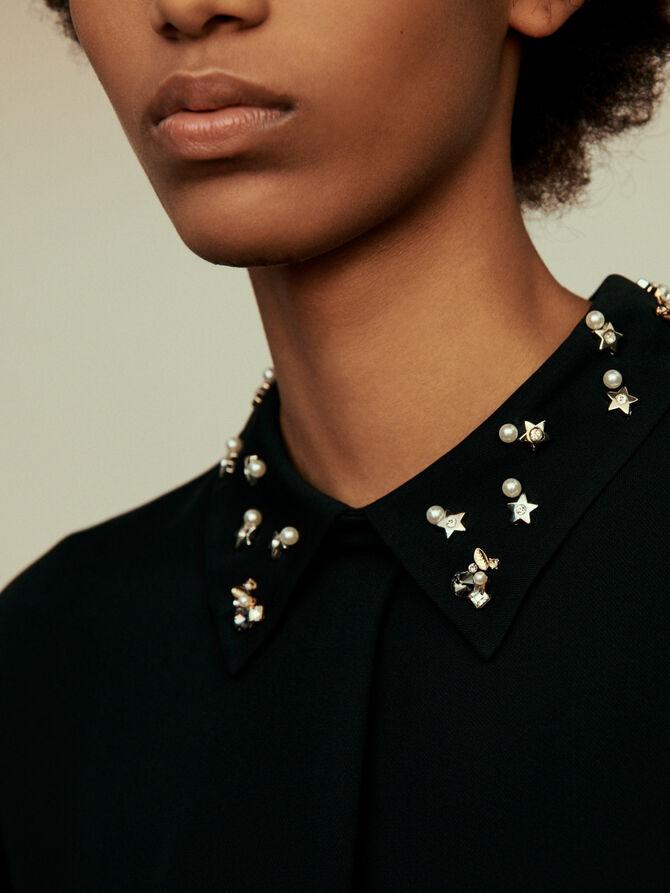 Top noir à col bijoux - SoldesFR_40 - MAJE