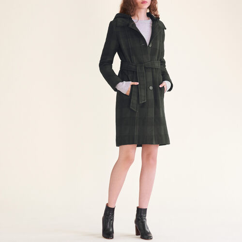Long checked coat : See all color Jacquard