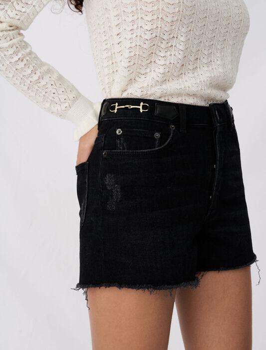 Short en jean effet usé à mors : Pap_Dream_Tomorrow couleur Noir