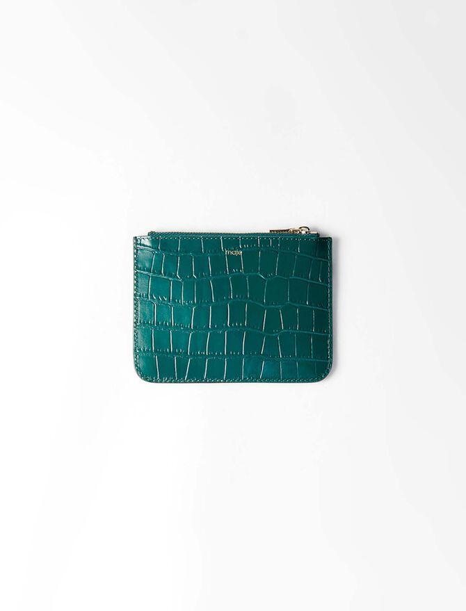 Pochette zippée en cuir embossé - Petite_maroquinerie - MAJE