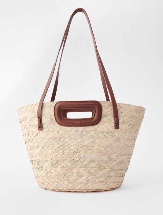 Basket bag in palm and leather : All bags color Black