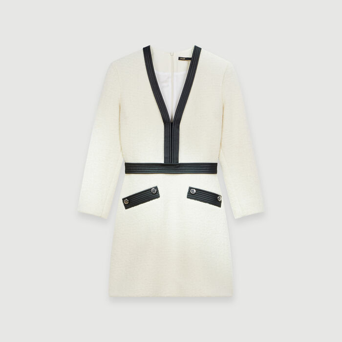 Tweed-like contrast dress : Dresses color Ecru