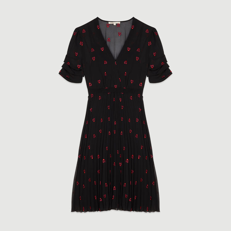 Dress with hearts embroidery : Dresses color Black 210