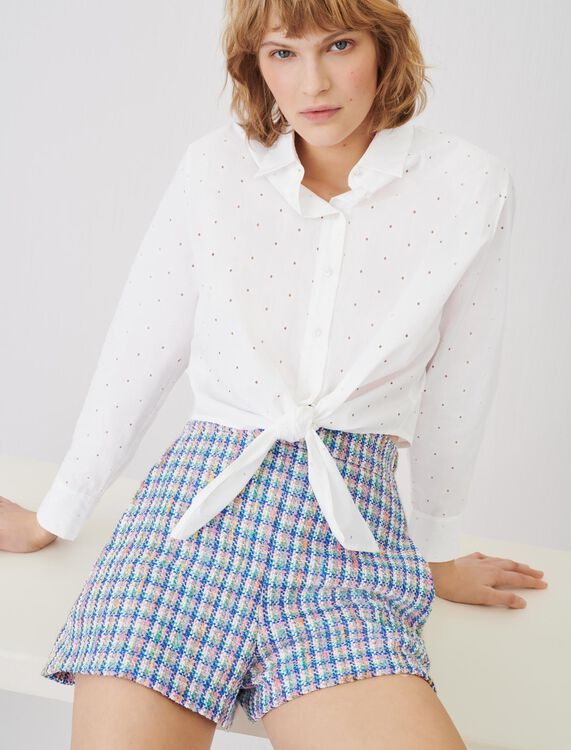 Tie shirt in embroidered poplin - Tops & Shirts - MAJE