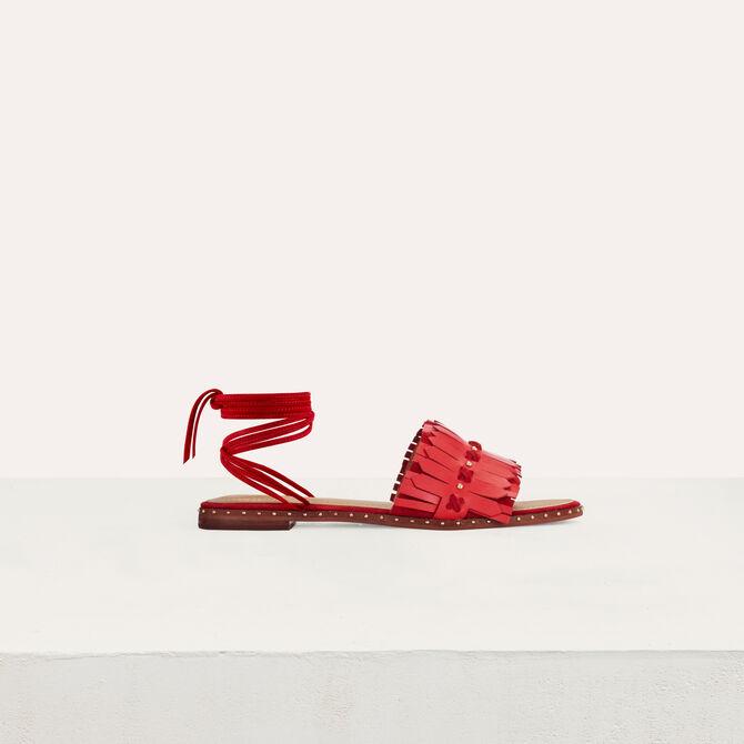 Sandales plates à liens et franges - null - MAJE