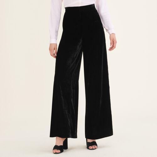 Wide-leg velvet trousers : Trousers color Black 210