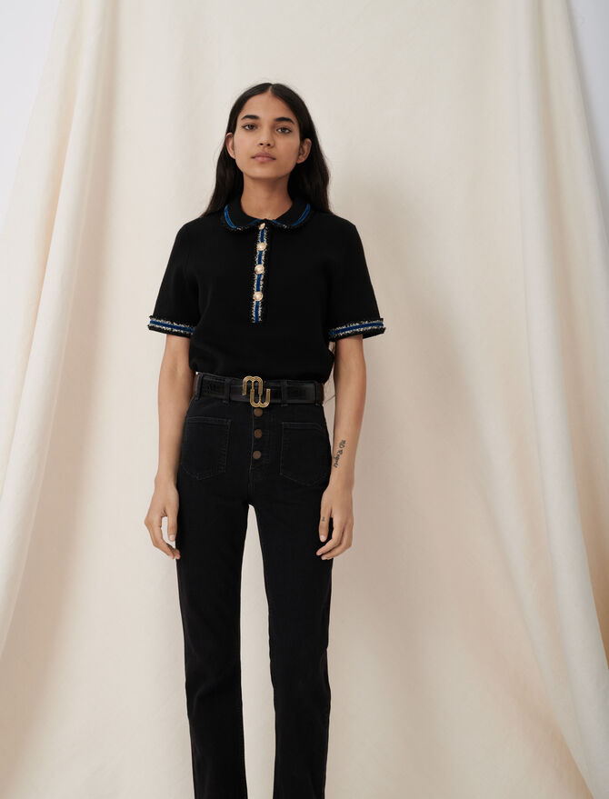 Knitted polo sweater, contrasting velvet - T-Shirts - MAJE