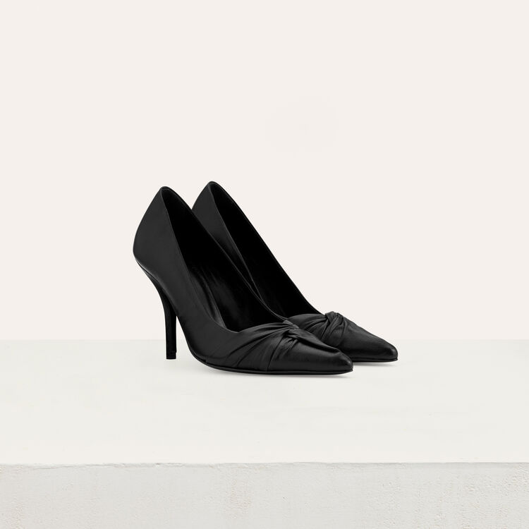 Draped leather pumps : Slipper color Black 210