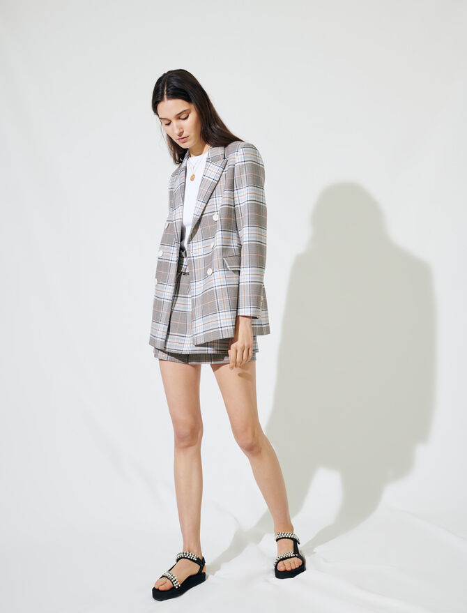 Checked double-breasted blazer -  - MAJE