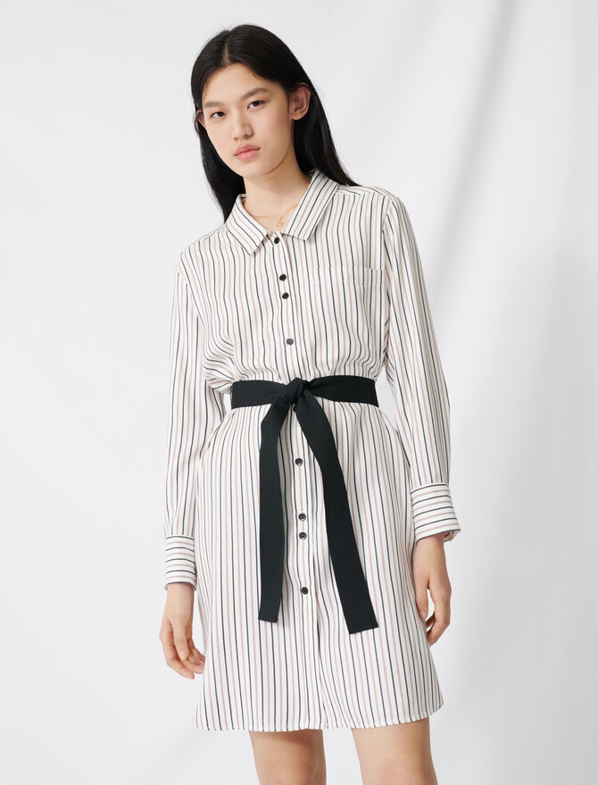 Belted pinstriped shirt dress -  - MAJE