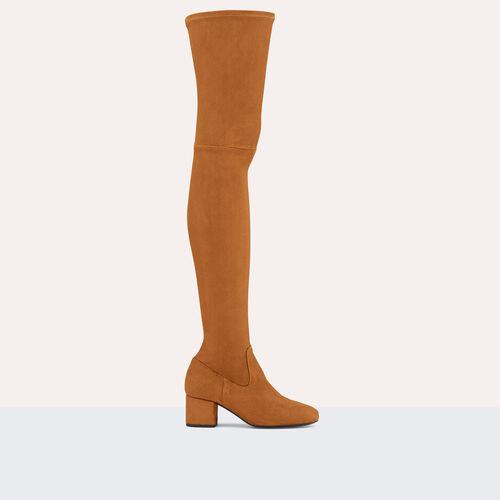 Flat suede calfskin thigh boots : Accessoires color Black 210