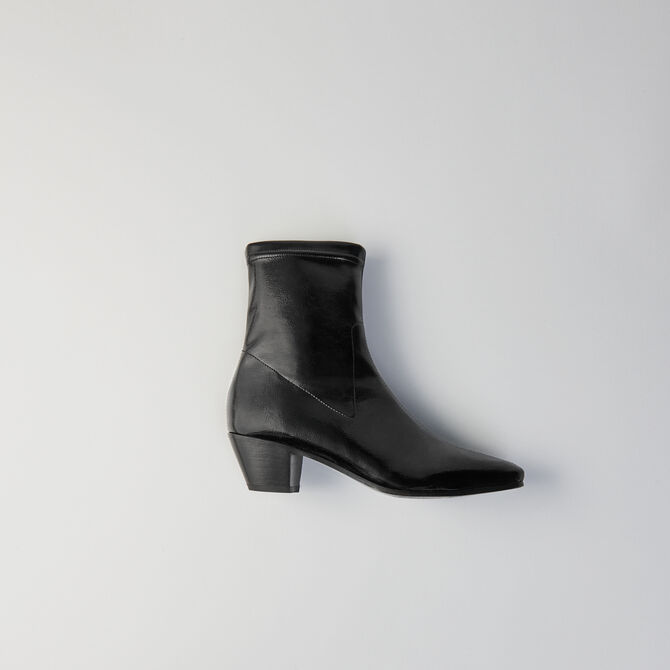 Bottines à talon en vinyle stretch - null - MAJE