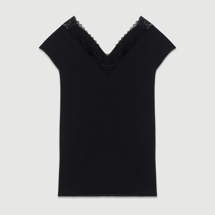 Pleated top with lace : Midseason-Sales_ALL_IE color Black 210