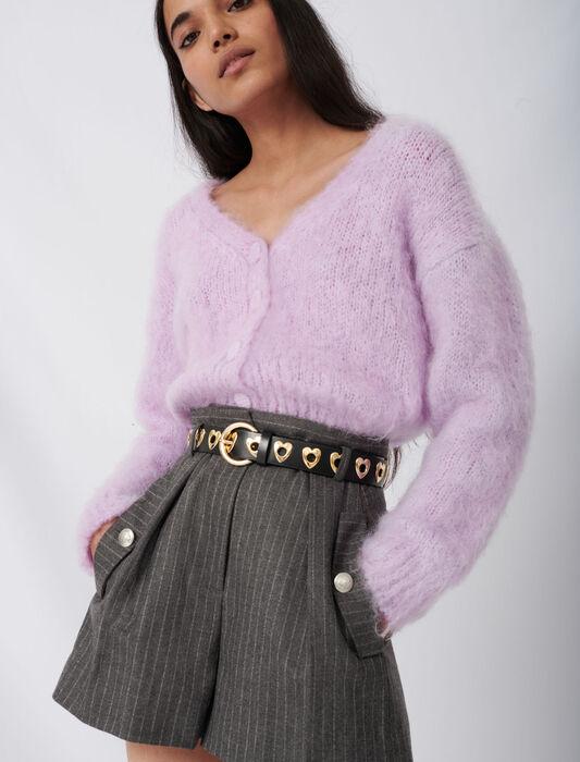 Cardigan en mohair et boutons recouverts : Pap_Pulls-Cardigans couleur Parme