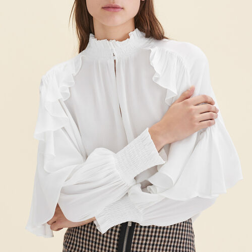 Floaty frilled blouse : Tops color Ecru