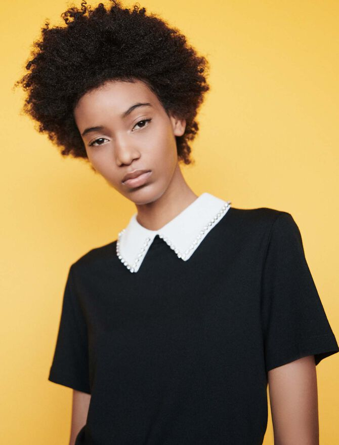 T-shirt with removable strass collar - T-Shirts - MAJE