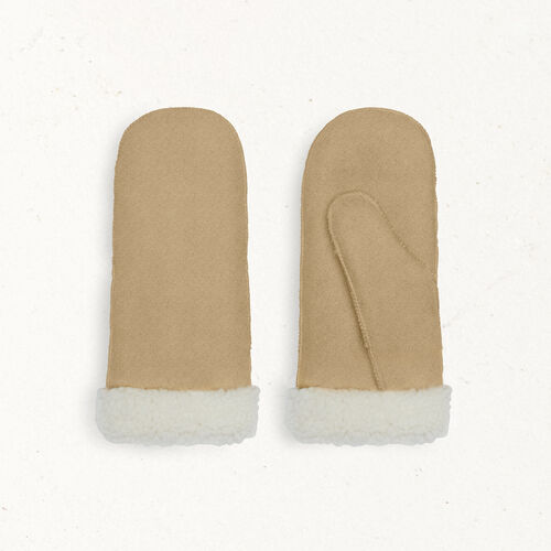 Sheepskin mittens : Accessoires color Camel