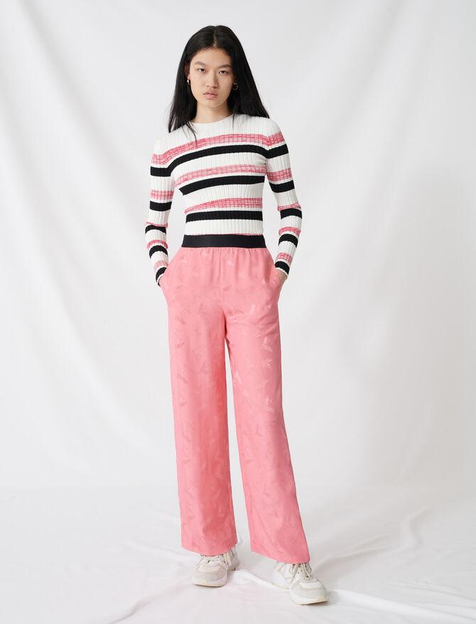 Pantalon palazzo en jacquard satiné - Pap_Pantalons-Jeans - MAJE