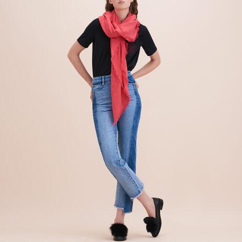 Cotton blend  shawl : Accessoires color Black 210